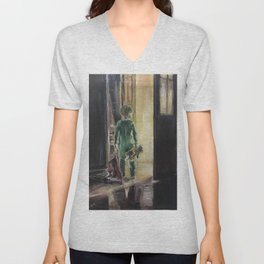 Waiting for a miracle Original oil painting on canvas Impressionism Artwork Unisex V-Neck