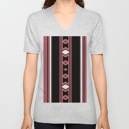 Modern Mauve Pink black Diamond Pattern Design Unisex V-Neck