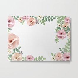 Pink Floral Watercolor Design Metal Print