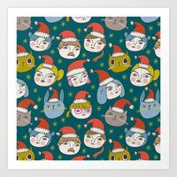 Pattern Project #50 / Little Santas Art Print