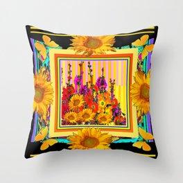 Victorian Style Hollyhock Sunflowers Butterflies Black Art Throw Pillow