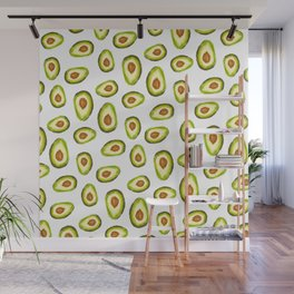 Modern hand painted avocado green brown watercolor pattern Wall Mural