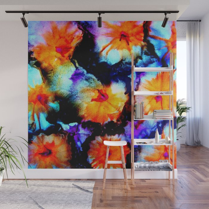 colorful abstract flower painting orange purple black wall mural by costa