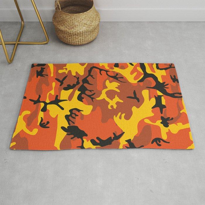 Camouflage Orange Yellow Black Rug By Kongsgart