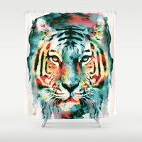 tiger Shower Curtains featuring TIGER by RIZA PEKER