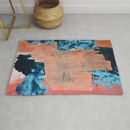 Reveal: A vibrant abstract mixed media piece in coral and blue by Alyssa Hamilton Art Rug