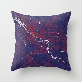 Bremen, Germany, Blue, White, City, Map Throw Pillow