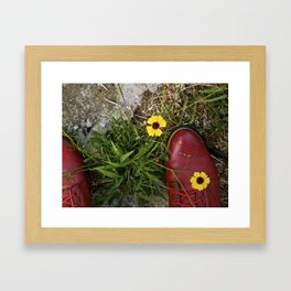 Red Shoes and Flowers Framed Art Print