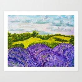 Lavender Fields Watercolor Art Print