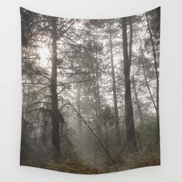 Calm morning... Into the foggy woods Wall Tapestry