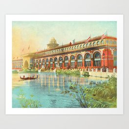 Chicago 1893 World's Fair, Red and Gold Transportation Building Art Print