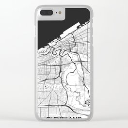 Cleveland Map Gray Clear iPhone Case