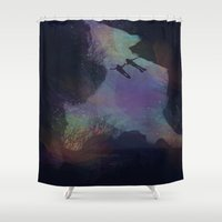 diver Shower Curtains featuring Cosmic Diver by George_Swift