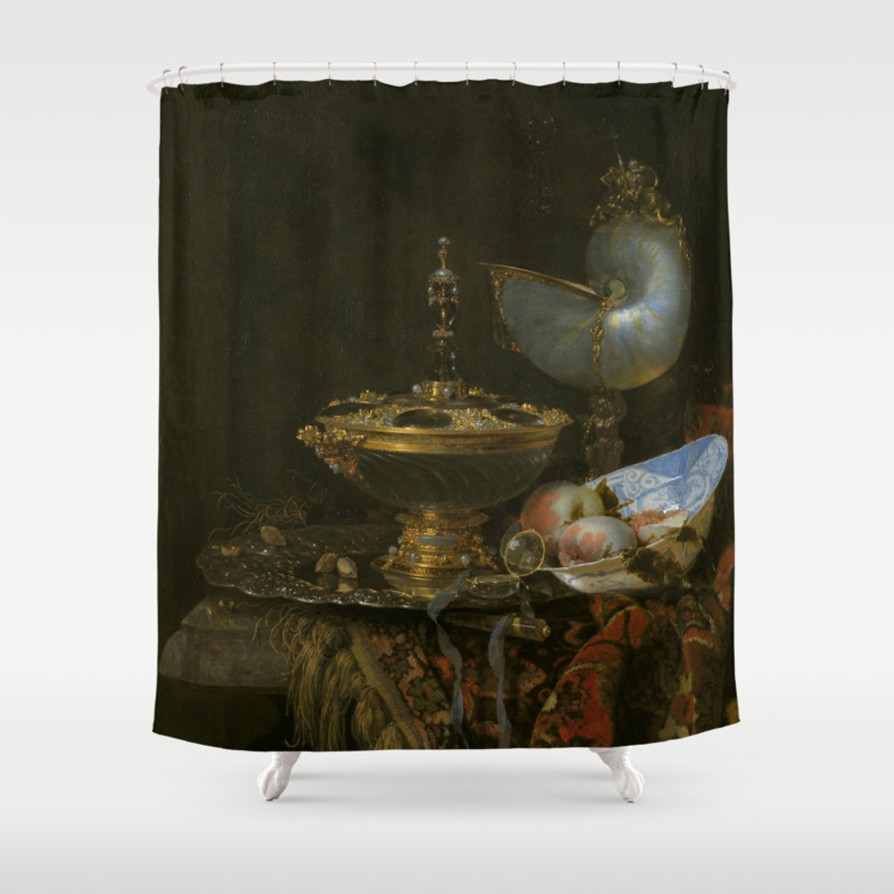 Still Life With Holbein Bowl, Nautilus Cup, Glass … Shower Curtain by Ortolanastudio CTN7628632