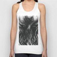"cthulu Tank Tops featuring Cthulu ""He is Risen"" H.P. Lovecraft by judgehydrogen"