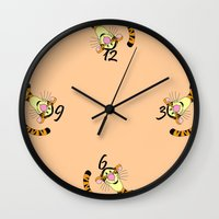 tigger Wall Clocks featuring Tigger clock by BlackBlizzard