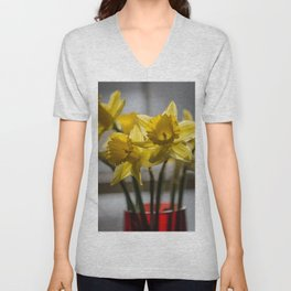 Daffodils in Red Crystal vase from my photography collection Unisex V-Neck