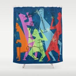 Mid-Century Modern Jazz Band Shower Curtain