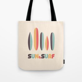 Retro Sun & Surf Surfboard Tote Bag