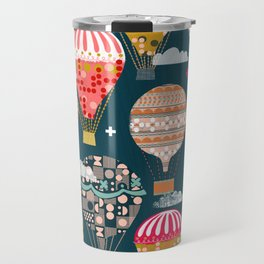 Hot Air Balloons - Retro, Vintage-inspired Print and Pattern by Andrea Lauren Travel Mug
