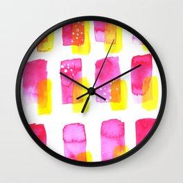 Pink Lemonade Abstract Watercolor Wall Clock
