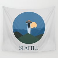 seattle Wall Tapestries featuring Seattle by uzualsunday