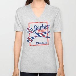 Barber Magic - red, white, blue Unisex V-Neck