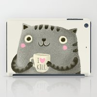 grey iPad Cases featuring I♥kill (brown) by Lime