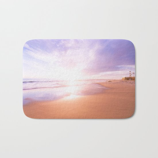 Sunset Beach Scene , Summertime, Pastel Sky Bath Mat