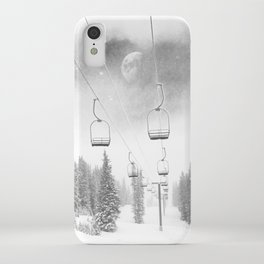 Ski Lift Moon Break // Riding the Mountain at Copper Colorado Luna Sky Peeking Foggy Clouds iPhone Case