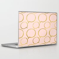 gold foil Laptop & iPad Skins featuring Pink Gold Foil 01 by Aloke Design