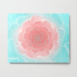 Romantic aqua and pink flower, digital abstracts Metal Print