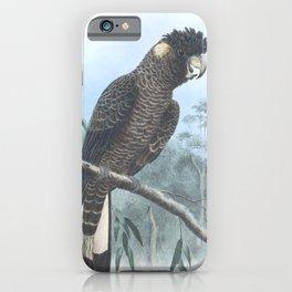 Vintage Print - The Birds of Australia (1910) - White-Tailed Black Cockatoo iPhone Case