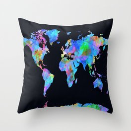 world map watercolor black Throw Pillow