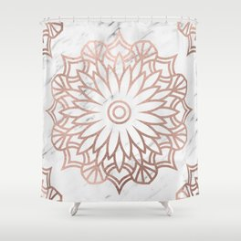 Marble mandala - floral rose gold on white Shower Curtain