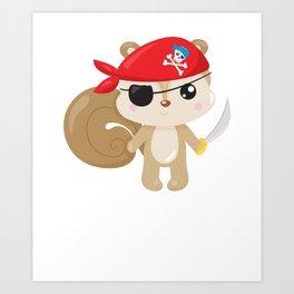 Animal Pirates Animal Pirate Squirrel Pirate Themed Birthday Art Print