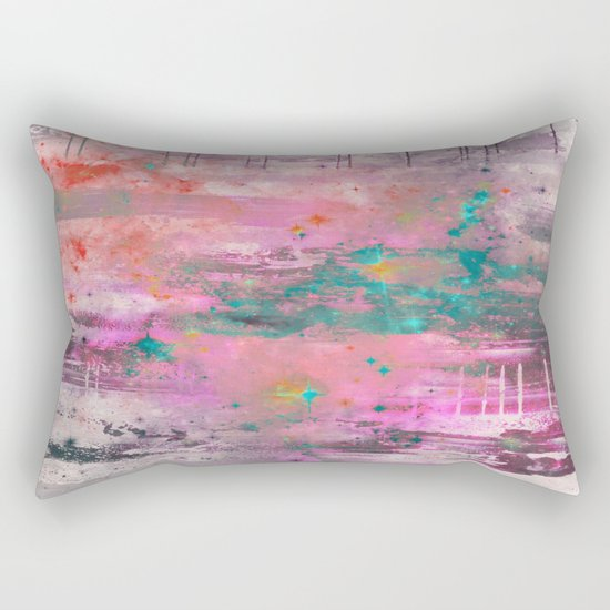 Mystical! - Abstract, pink, purple, red, blue, black and white painting Rectangular Pillow