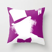 willy wonka Throw Pillows featuring Willy Wonka Tribute Poster by stefano manca
