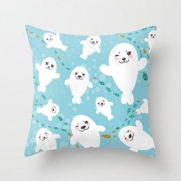 Funny albino white fur seal pups, cute kawaii seals Throw Pillow