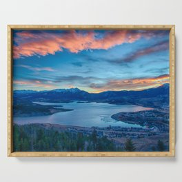 Lakeside Sunset // Mile High Rocky Mountain Orange and Blue Sky Serving Tray