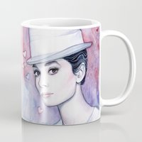 audrey hepburn Mugs featuring Audrey Hepburn by Olechka
