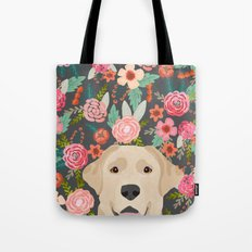 Yellow Lab dog portrait labrador retriever dog art pet friendly florals floral Tote Bag