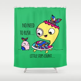 """Little Steps Count"" / Turtle and His Friend Shower Curtain"