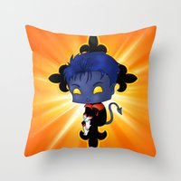 nightcrawler Throw Pillows featuring Chibi Nightcrawler by artwaste