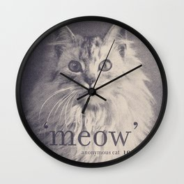 Famous Quotes #2 (anonymous cat, 1952) Wall Clock