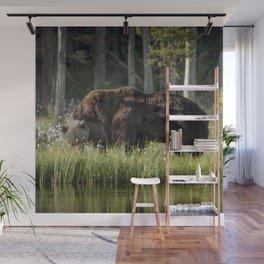 Morning kiss and (brown) bear hug Wall Mural
