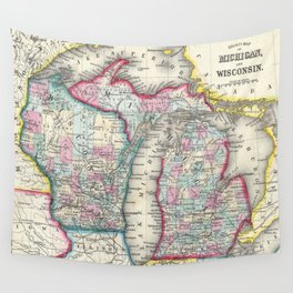Vintage Map of Michigan and Wisconsin (1860) Wall Tapestry