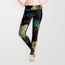 Before Midnight Blue Hour Vintage Fall Flowers Garden Leggings