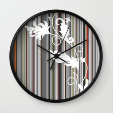 Gray and White Pinstripe Floral Line Design Wall Clock
