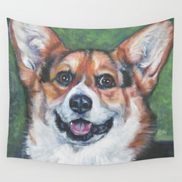 Pembroke Welsh Corgi dog portrait painting by L.A.Shepard fine art Wall Tapestry